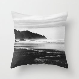 Black and White Seascape At Hug Point Throw Pillow