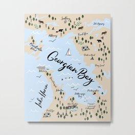 Map of Georgian Bay and Lake Huron Metal Print