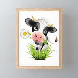 Cute Holstein cow in grass Framed Mini Art Print