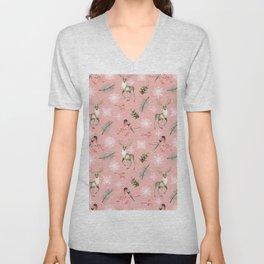 Xmas Pattern Pink #socieyt6 #buyart Unisex V-Neck