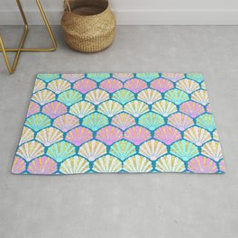 seashells in pink and teal, perfect for a mermaid Rug