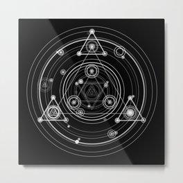 Sacred geometry black and white geometric art Metal Print