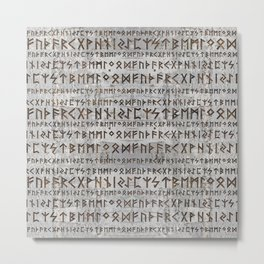 Elder Futhark Pattern on birch texture Metal Print