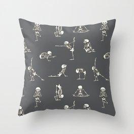 Skeleton Yoga_Gray Throw Pillow