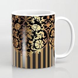Gold and Black Damask and Stripe Design Coffee Mug