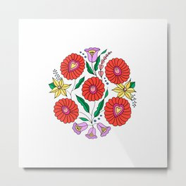 Hungarian embroidery inspired pattern white Metal Print