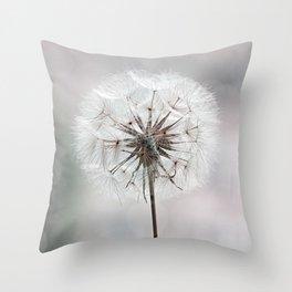 Delicate Dandelion Flower in soft light Throw Pillow