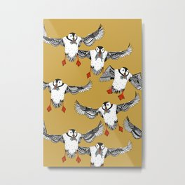Atlantic Puffins gold Metal Print