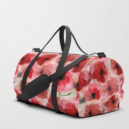 Pressed Poppy Blossom Pattern Duffle Bag