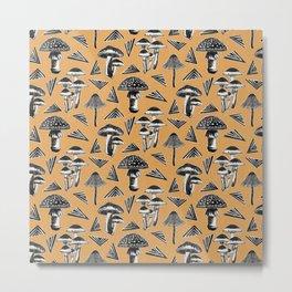 Block-print Mushrooms - ochre Metal Print