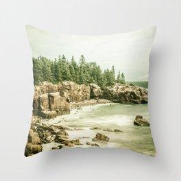 Acadia National Park Maine Rocky Beach Throw Pillow