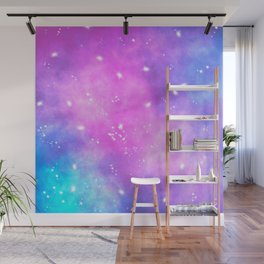 Hand painted pink purple turquoise watercolor nebula space glitter stars Wall Mural