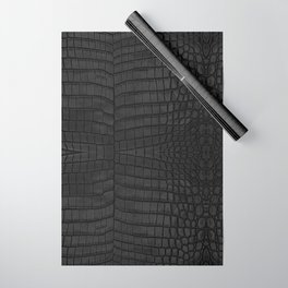 Black Crocodile Leather Print Wrapping Paper
