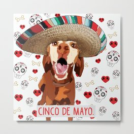 Cinco de Vizsla Dog Metal Print