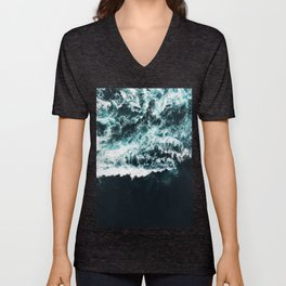 Oceanholic, Sea Waves Dark Photography, Nature Ocean Landscape Travel Eclectic Graphic Design Unisex V-Neck