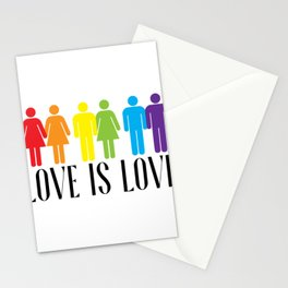 LGBT PRIDE MONTH PARADE product - LOVE IS LOVE print Stationery Cards