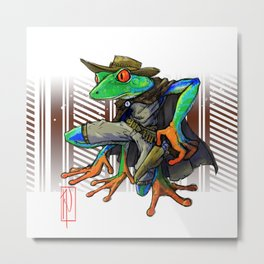 Frog Gunslinger, The Good, the bad, and the Slimy Metal Print