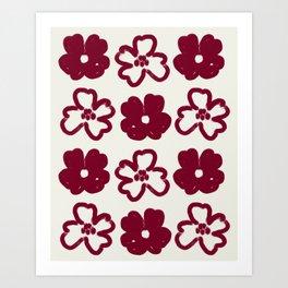 Minimalist Hand-drawn Acrylic Red Boho Flowers, Canvas Light Texture Art Print