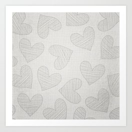 Canvas Design with Large Heart Shapes and a Great Texture Art Print