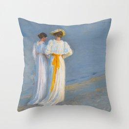 Anna Ancher and Marie Krøyer on the beach - Krøyer Throw Pillow