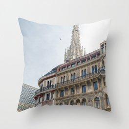 St stephen Cathedral Vienna Austria 2 sky bird Throw Pillow