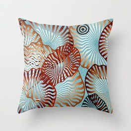 Swirling Metallic Shapes On Baby Blue Clouds Throw Pillow