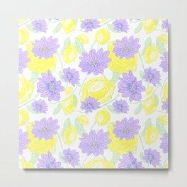 Freshy lemon fruit aroma purple flower beautiful pattern on white backgroung Metal Print
