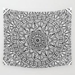 Circle of Life Mandala Black and White Wall Tapestry