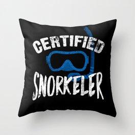 Snorkeling Diving Snorkeler Throw Pillow