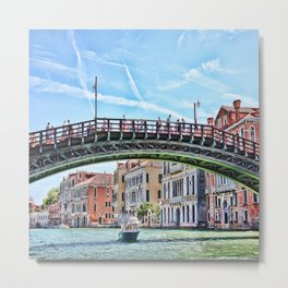 Ponte dell' Accademia Bridge In Venice, Italy Metal Print