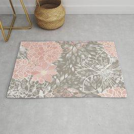 Floral Pattern Dahlias, Blush Pink, Gray, White Rug