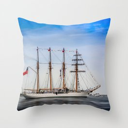 Sail Boston - Chilean Esmeralda. Throw Pillow