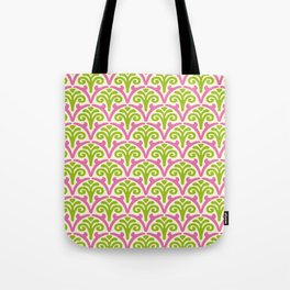 Floral Scallop Pattern Chartreuse and Pink Tote Bag