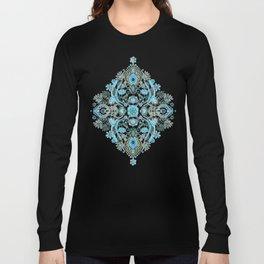 Modern Folk in Aqua and Umber Long Sleeve T-shirt