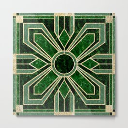 Art Deco Floral Tiles in Emerald Green and Faux Gold Metal Print