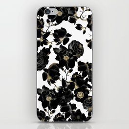 Modern Elegant Black White and Gold Floral Pattern iPhone Skin