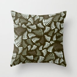 Fern Fronds in Silver and Greens Throw Pillow