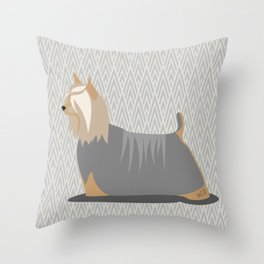 Roaring Silky Terrier by IxCO Throw Pillow