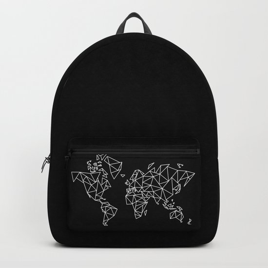White on Black Geometric Low Poly Map of The World / Polygon geometry by martaolgaklara