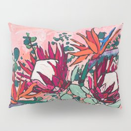 Cockatoo Vase on Painterly Pink Pillow Sham