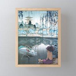 Haku and Chihiro woodblock mashup Framed Mini Art Print