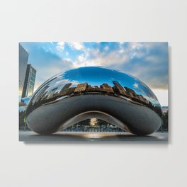 Metallic silver city Metal Print
