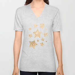 Beautiful champagne gold glitter sparkles Unisex V-Neck