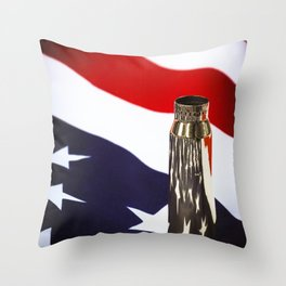 Red White and Brass the American Flag and a 20mm brass Casing reflections Throw Pillow