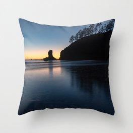 Sea Stack Silhouette Throw Pillow