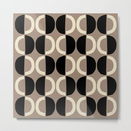 Mid Century Modern Half Circle Pattern 555 Beige and Black Metal Print