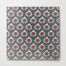 Pattern with red figs and geometric  background. Metal Print