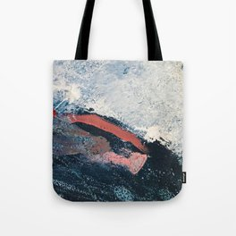 Sea to Sky: a minimal abstract piece in pinks, blue and white by Alyssa Hamilton Art Tote Bag