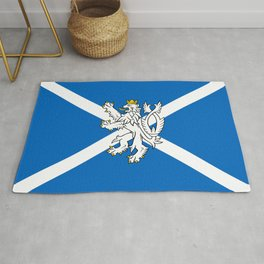 Blue and White Scottish Flag with White Lion Rug