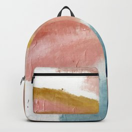 Exhale: a pretty, minimal, acrylic piece in pinks, blues, and gold Backpack